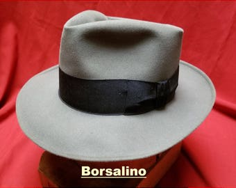 ce37e22eca7a2 Vintage ~ Unworn ~ Mens ~ Borsalino ~ Fedora ~ New Old Stock ~ Soft Grey ~  Alessandria ~ Deadstock ~ 1930 s ~ 1940 s