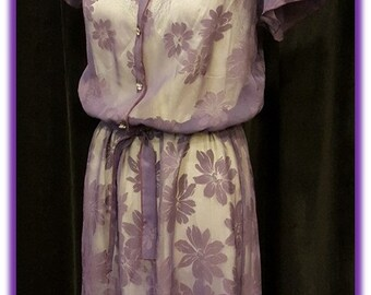 Amazing 1970's Vintage Purple Sheer with Floral Design Dress ~ Great Spring to Summer Dress ~ Made in USA