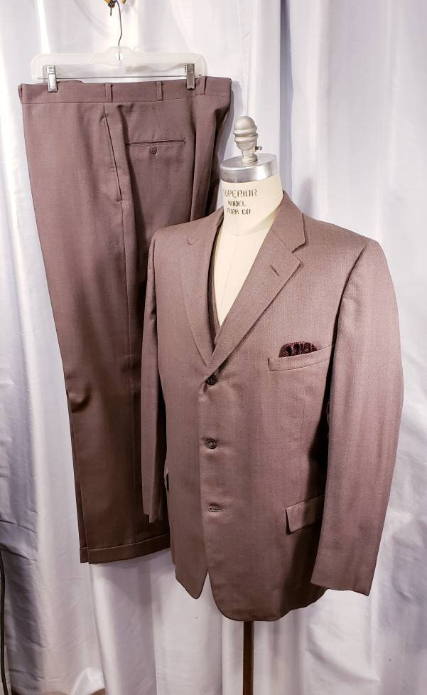 1950s Mens Suits & Sport Coats | 50s Suits & Blazers Vintage  Mens 3 Piece Suit Taupe 1950s 4 Pocket Vest G Men L@@k $108.25 AT vintagedancer.com
