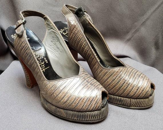 Womens ~ Grey Skins ~ Platform ~ Shoes ~ Peeptoe … - image 1