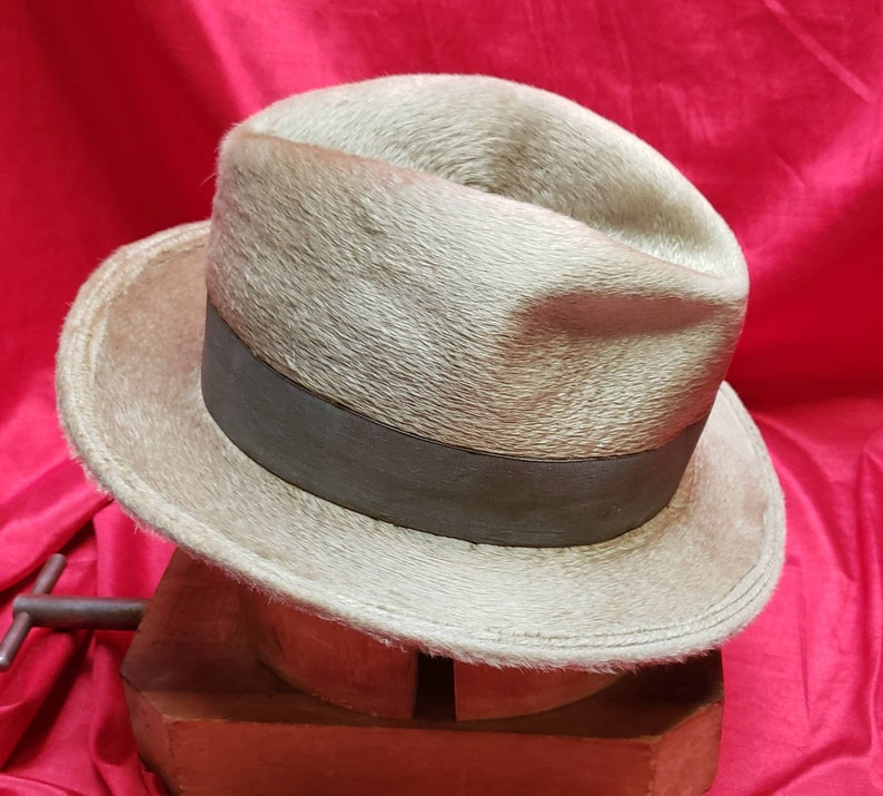 c5652423 Incredible Vintage Mens Taupe-y Champagne Fedora | Etsy