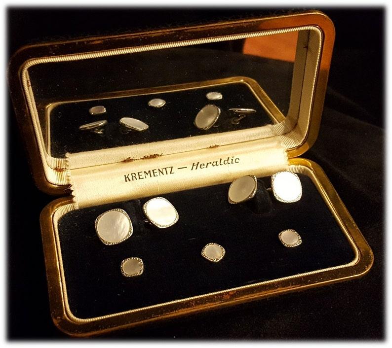 Art Deco ~ Mens Formal Stud ~ Krementz ~ Hearldic ~ Shirt Studs ~ Cuff Links ~ Mother of Pearl ~ Original Mirrored Box