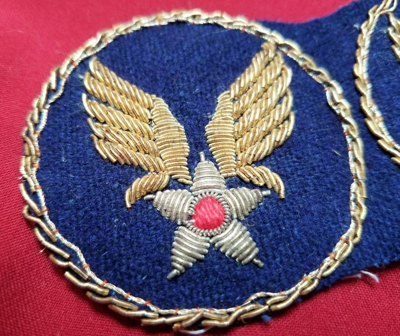 WW2 Bullion Pair of USAAF Theatre made HQ Patches Rare L@@k!!!!