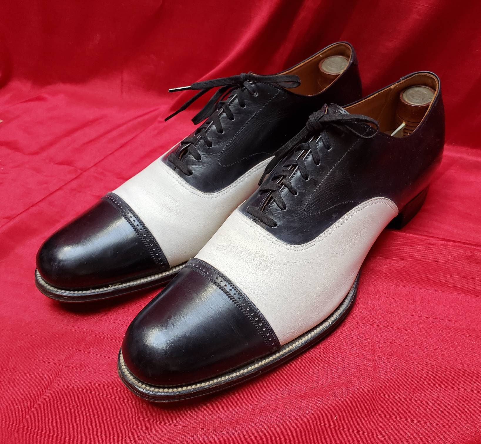 New 1930s Mens Fashion Ties Early  Stacy Adams Mens Vintage Two Tones Dress Shoes Near Mint Cap Toes Mens Spectators Beautiful Made in Usa L@@k $86.75 AT vintagedancer.com