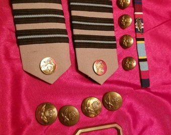 WW2-Post RAF Royal Air Force Shoulder Boards-buckle-ribbons-buttons L@@k!!!!