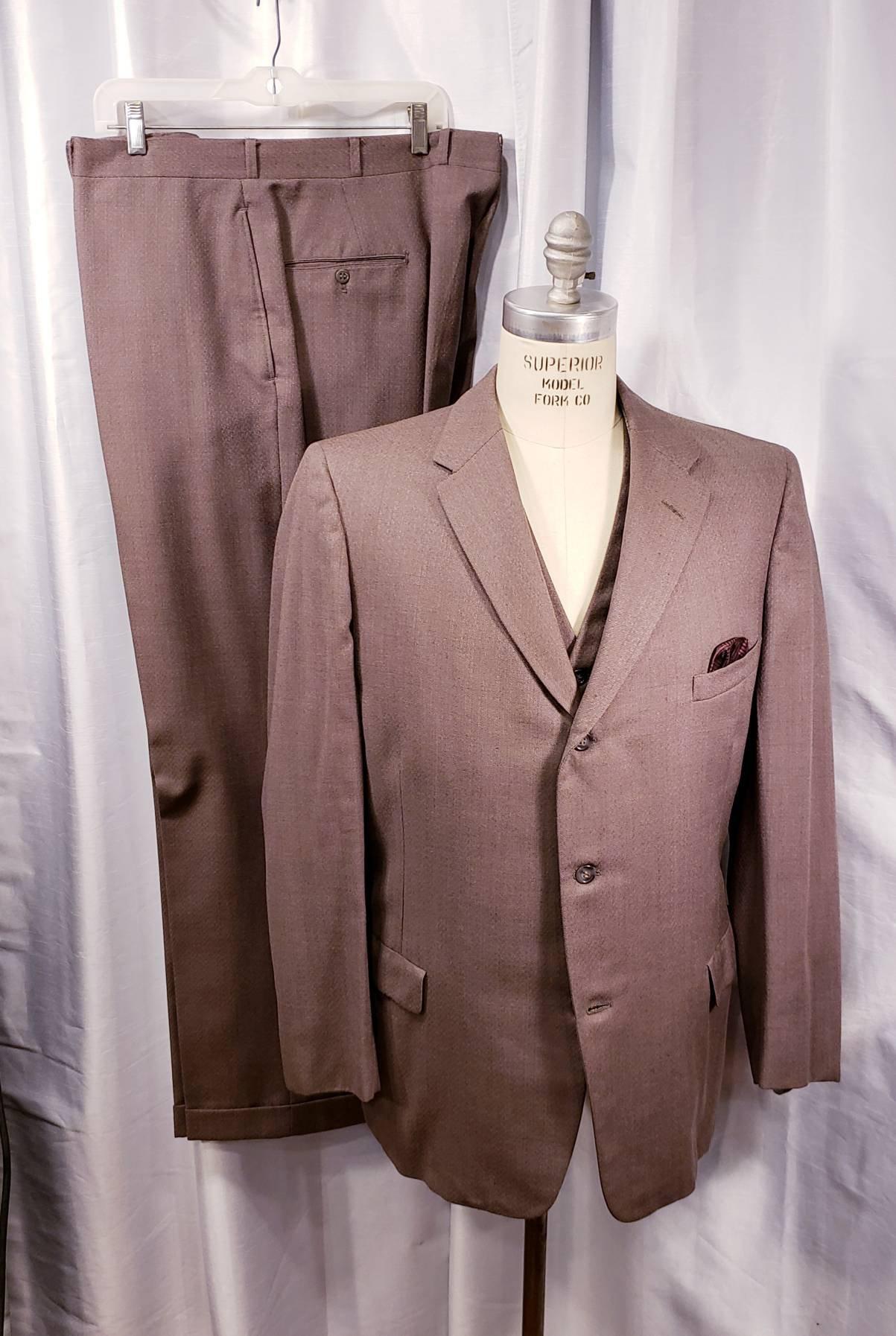 1950s Mens Suits & Sport Coats   50s Suits & Blazers Vintage  Mens 3 Piece Suit Taupe 1950s 4 Pocket Vest G Men L@@k $108.25 AT vintagedancer.com