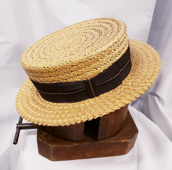 Vintage ~ Men's Ventilated Straw Boater ~ Super Un
