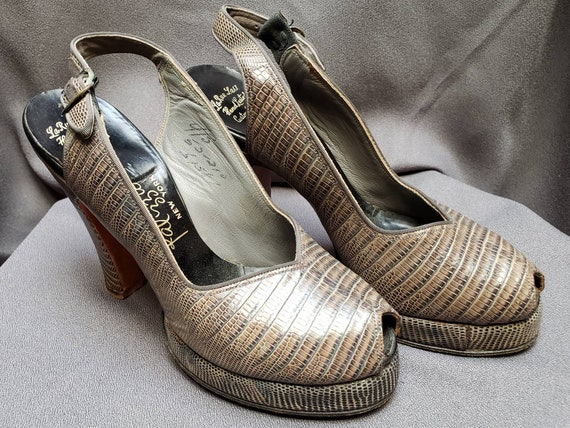 Womens ~ Grey Skins ~ Platform ~ Shoes ~ Peeptoe … - image 7