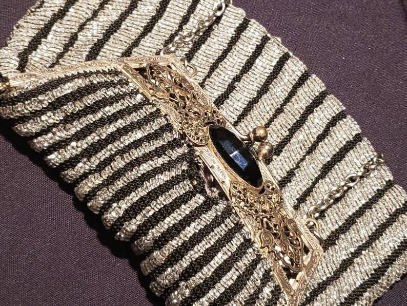 Vintage ~ Beautiful ~ Glass Beaded ~ Handbag ~ Purse ~ 1920/'s ~ Black ~ Silver ~ Handmade ~ Flapper ~ Gatsby ~ L@@k!!!
