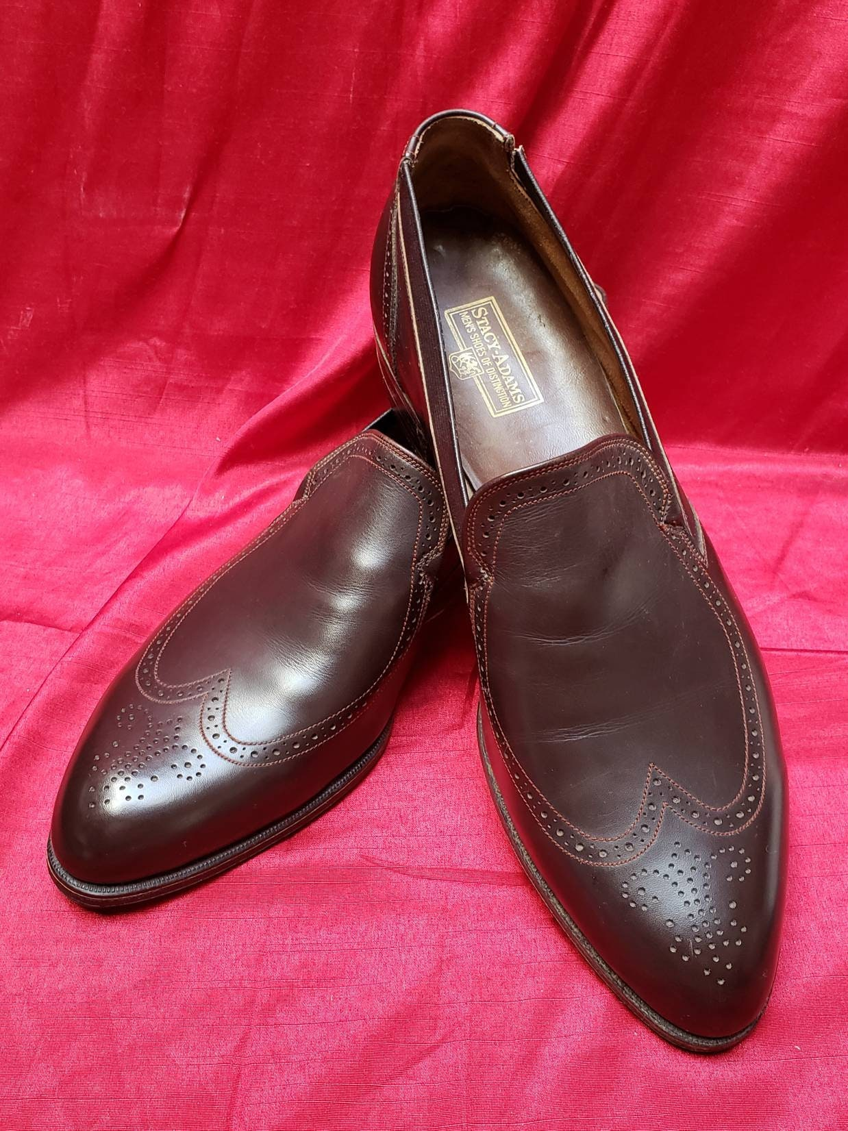 stacy adams ~ de ~ quasi ~ vintage ~ glisser ons chaussures ~ quasi ~ neuf ~ style ~ hommes  ; s ~ ~ n ~ ~ le cheptel mort aile ~ made in usa l @ @ k!!! 9a965e