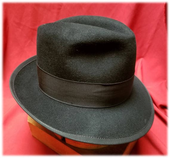 8a9f572cf50c Mens Vintage Black on Black Fedora by Pedegree Tall