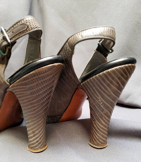 Womens ~ Grey Skins ~ Platform ~ Shoes ~ Peeptoe … - image 5