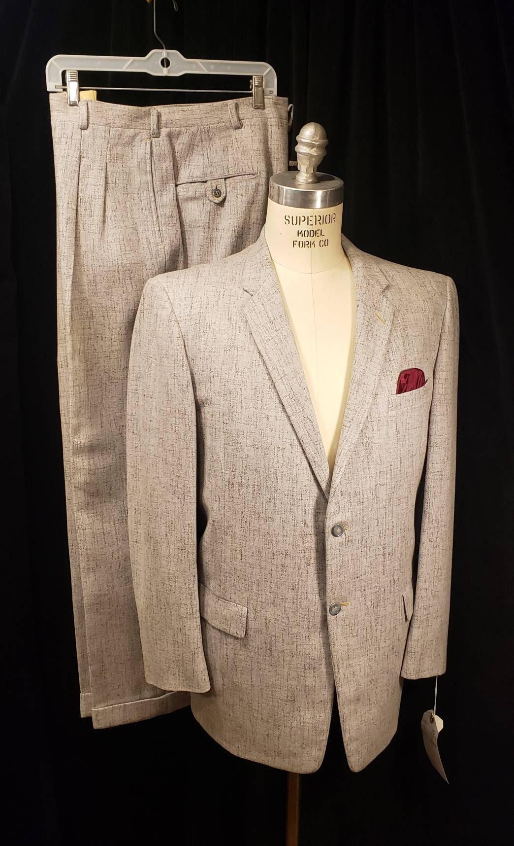 1950s Mens Suits & Sport Coats   50s Suits & Blazers Vintage  Mens Beautiful Fleck 1950S Suit Robert Hall High Rise Trousers Pleats L@@k $97.45 AT vintagedancer.com