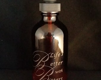 Laser Engraved Large Boston Dropper Bottle - Four (4) Ounce - 120 mL - Amber, Blue or Green Glass