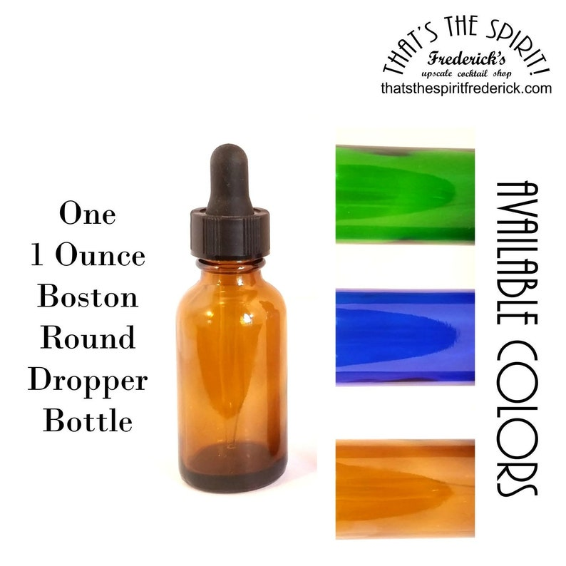 cf3abd783ae8 Small Boston Round Dropper Bottle - One 1 Oz/30 ml - Amber, Blue or Green  Glass