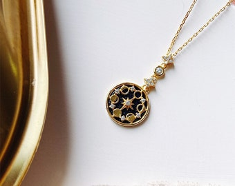 Noir Lunar Phase 18K Gold Vermeil Necklace, Black Night Sky Celestial Moon and Star Orbit Necklace, Gift for Her