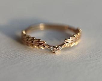 Nike Greek Goddess Angel Wings 18K Gold Vermeil Ring, Dainty Gold Laurel Gold Leaf Adjustable Ring, Celestial Ring