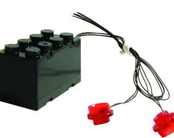 LED Double Blinking Red LEGO Studs with 2x4 Battery Brick