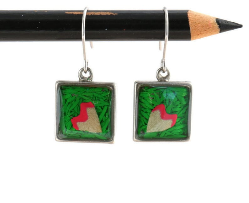 Colored pencils recycled into square earrings pewter resin Actives