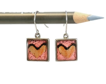 Colored pencils recycled into square earrings, pewter, resin Actives