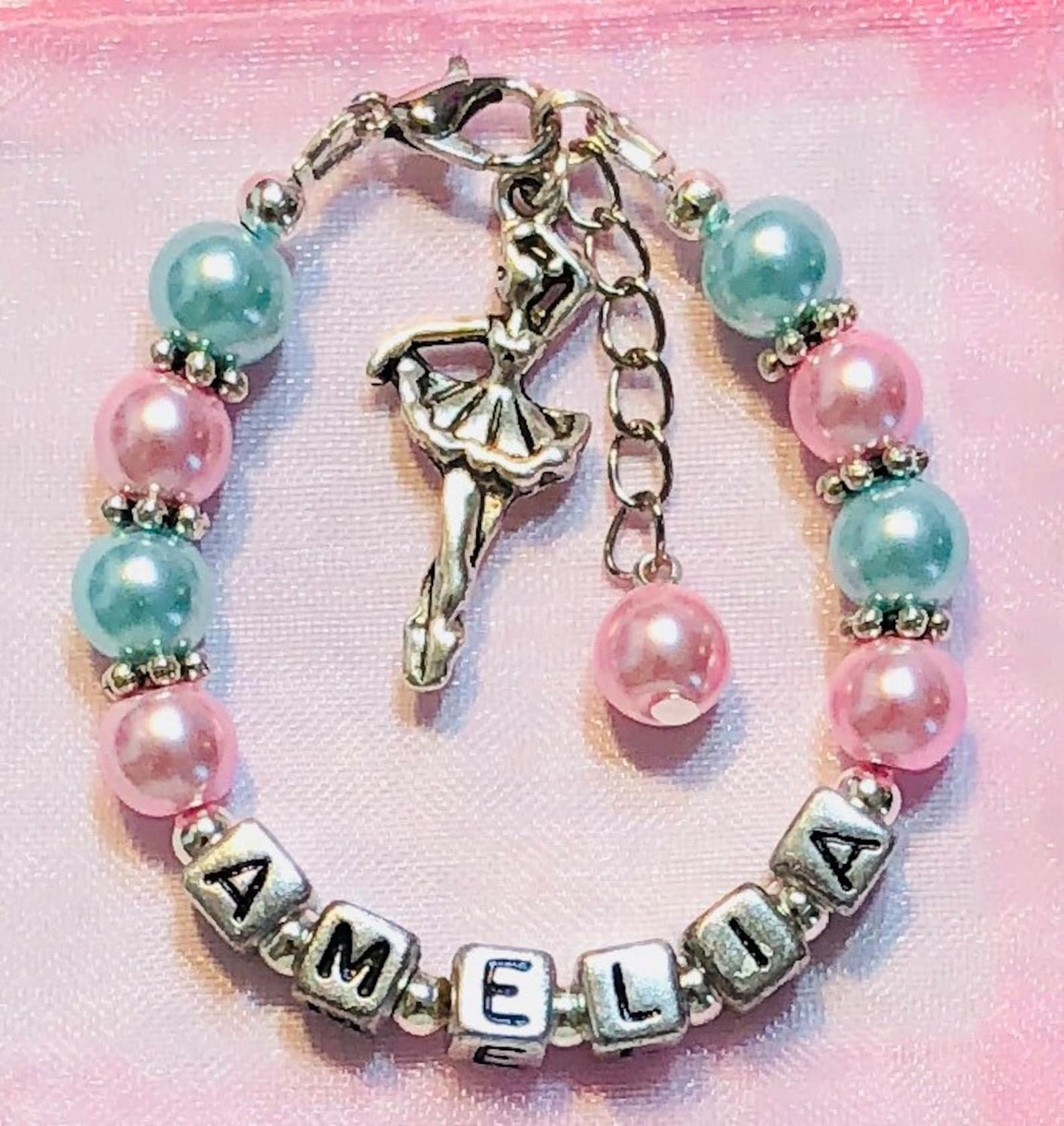 personalized dance bracelet-ballerina/ballet charm for girls/little kids/children/women-dance recital/birthday/christmas gift
