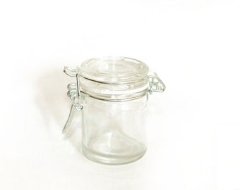Glass Mini Mason Jars Set of 4 | Glass Canning Jar bale wire flip lid | favor jars | spice jar,stash jars,Etsy Shop &Craft Supply,containers