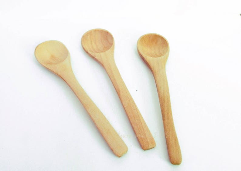 5 Small Wood Spoons Gift Set Chef Gift Mini Wooden Spoons Bath Salt Jars Spoon Party Favors Tea Party Favors