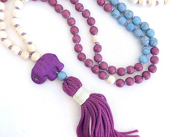 Elephant Mala Necklace, Ganesha Tassel necklace, Yoga mala, Boho White purple Howlite necklace, Meditation necklace, Summer Girls Necklace