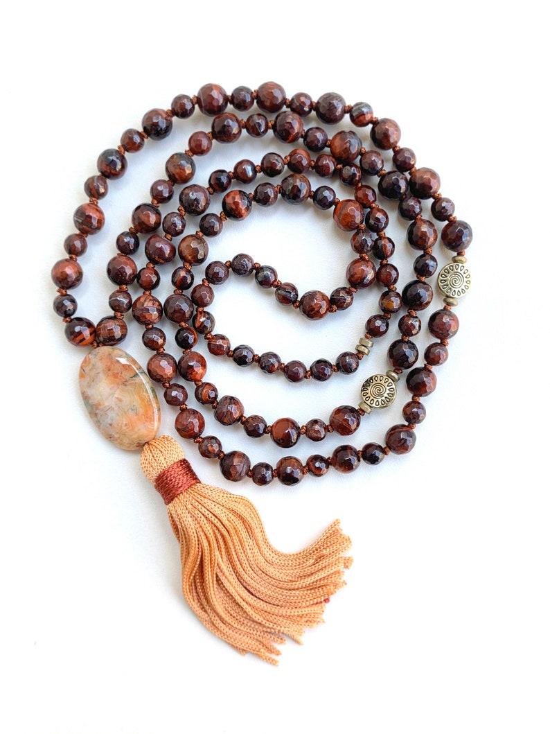 Ametrine Japa Mala Crystal Necklace with rudraksha seeds