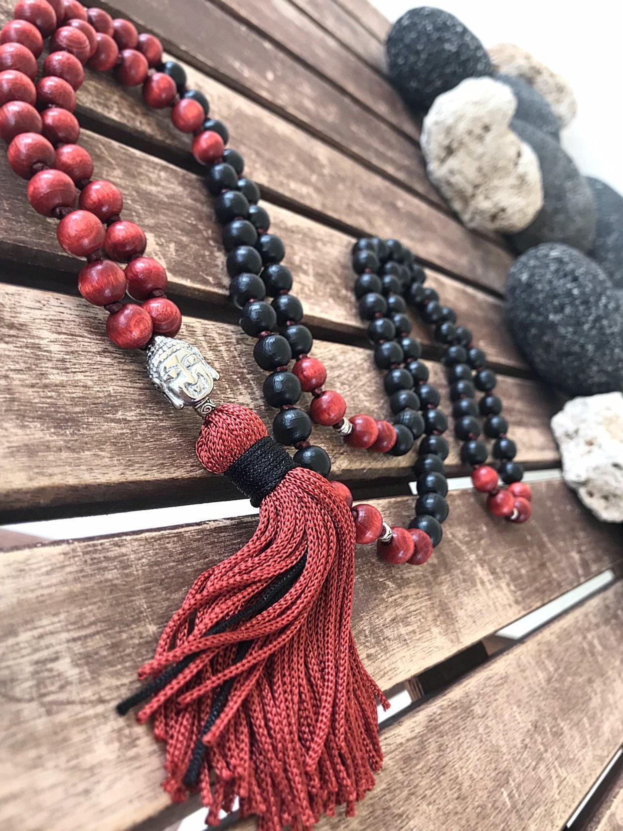 108 Holz Mala Perlen Geknotet Buddha Mala Kette Mit Quaste Etsy