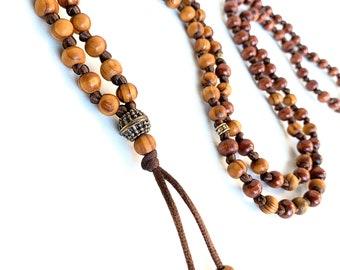 Olive wood Mala Necklace*Mala Beads 108*Long Beaded Necklace*Knotted Prayer Beads*Japa Mala*Yoga Gifts*Buddhist Mala*Meditation Gifts
