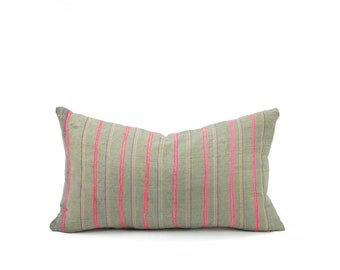 """12x20"""" Vintage Hmong Pillow Cover (green/Gray w/ Pink Embroidery)"""