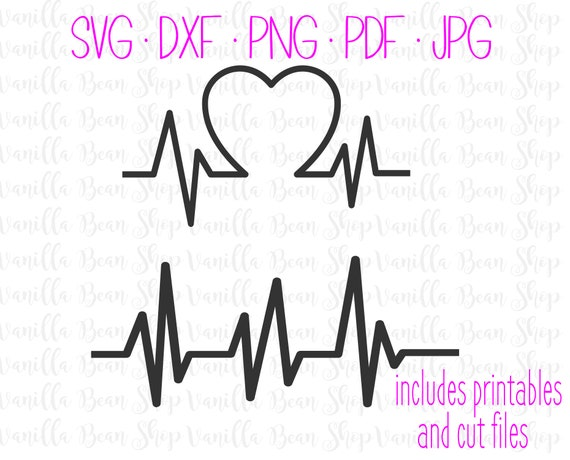 Heartbeat Svg Pulse Svg Ekg Svg Heartbeat With Heart Svg Etsy