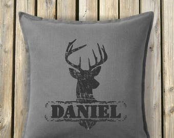Deer Head Pillow zip cover, Personalized