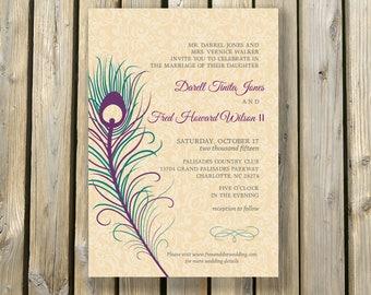 Peacock Wedding Invitation and RSVP