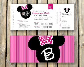 Minnie Mouse Ticket Invitation Etsy