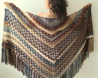 Evening shawl, boho shawl, fringed shawl, multicolor shawl, triangle shawl, brown, beige, gray,  gift for her, ready to ship, fast shipping
