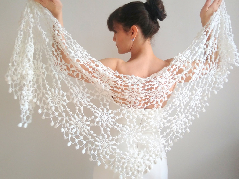 Ivory boda chal novia Bolero crochet encaje chal chal abrigo   Etsy