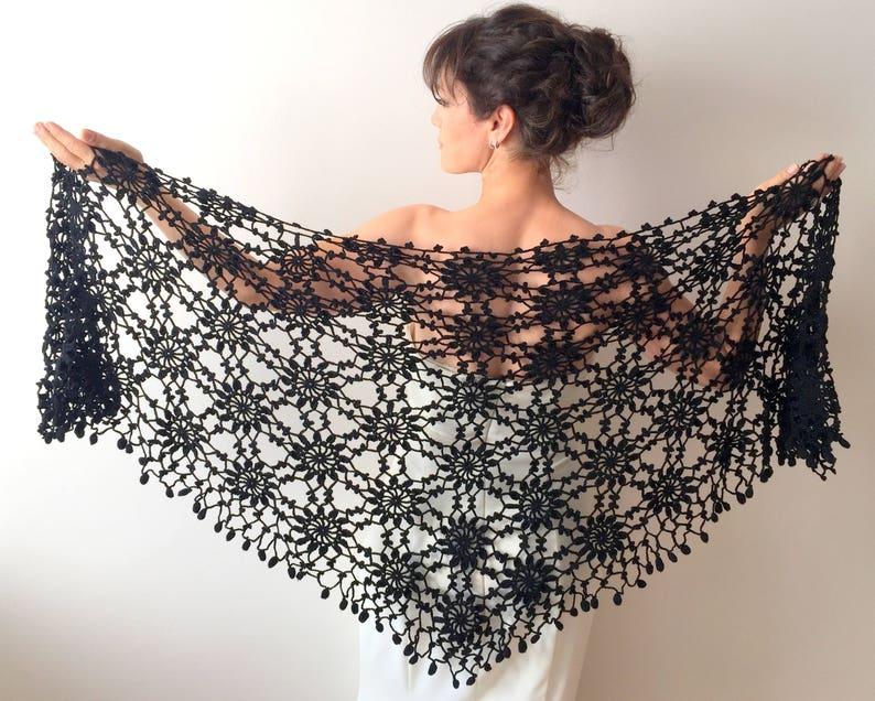 26d0459909 Evening shawl, black wrap, bridal cover up, wool shawl, winter wedding,  gift, lacy shawl, triangular wrap, ready to ship, ...