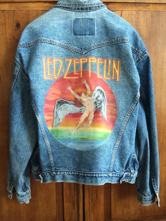 Led Etsy Zeppelin Peints Main Veste La À qxUnzw1P