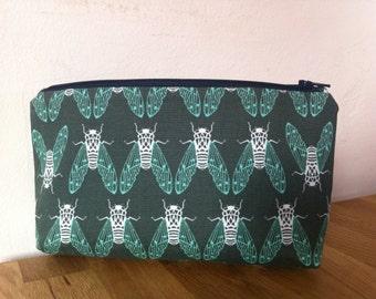 Green wash bag, makeup bag, pencil case, mens wash bag, cosmetic purse, boys wash bag, zip purse, makeup storage, small bag