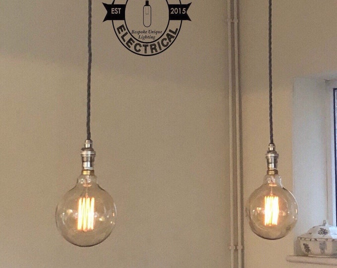 Industrial 2 X Ceiling Pendant Drop Light Dining Room Kitchen Restaurant Vintage Edison Lamp Table Includes
