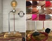 Gresham Table Lamp Light Uk Plug Urban Rustic Bedside Vintage Free Edison XL Globe Bulb