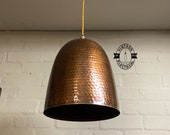 Hemblington Antique Copper Pendant Set Industrial Solid Steel Hammered Style light dining room kitchen table vintage