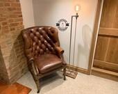 Gresham Industrial Floor Lamp Table Light Uk Plug Urban Rustic Bedside Vintage Free Edison XL Globe Bulb