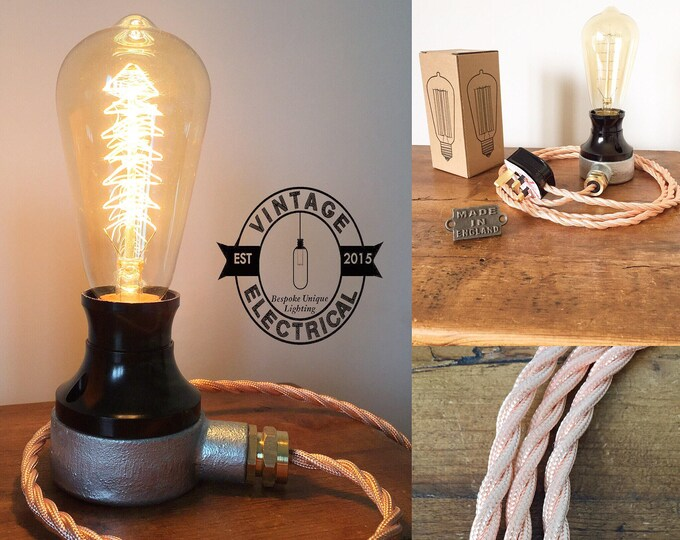 The Barford Bakelite Dimmable Copper Coloured Cable industrial table light vintage edison filament ste&unk uk plug & Steampunk Lighting - Vintage Electrical Ltd