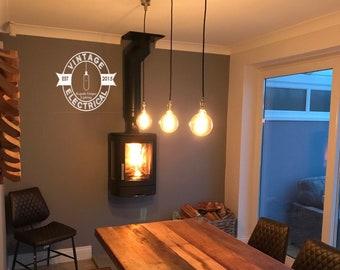 Heacham ~ Industrial 3 X Ceiling Pendant Drop Light Dining Room Kitchen  Restaurant Vintage Edison Lamp Table Includes Large B22 Globe Bu