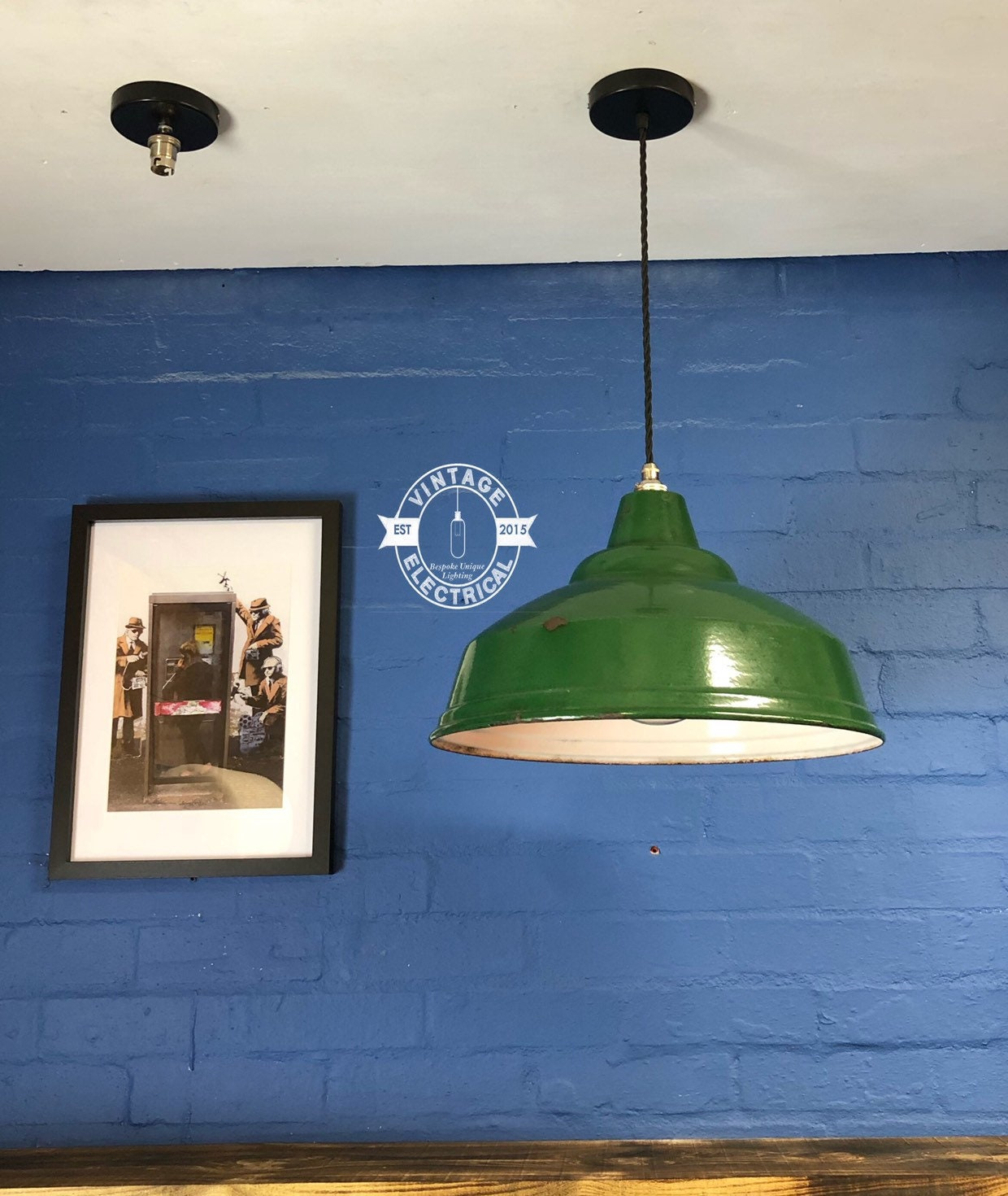 R e a l green 1940s industrial enamel shade vintage light ceiling dinning room kitchen table vintage edison filament lamp included