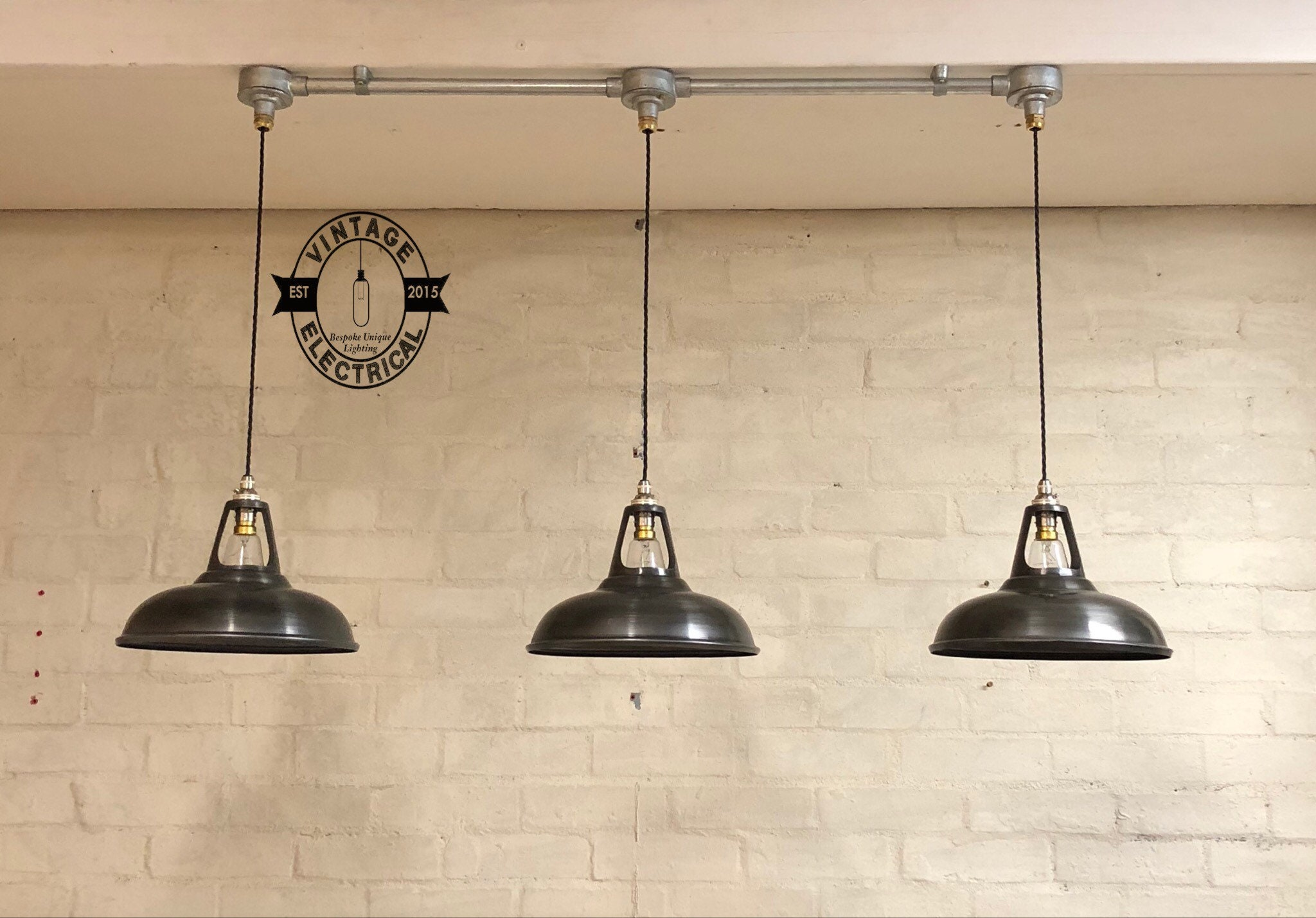Industrial Kitchen Table Lighting: The Newport 3 X Solid Steel Grey Coolicon Industrial