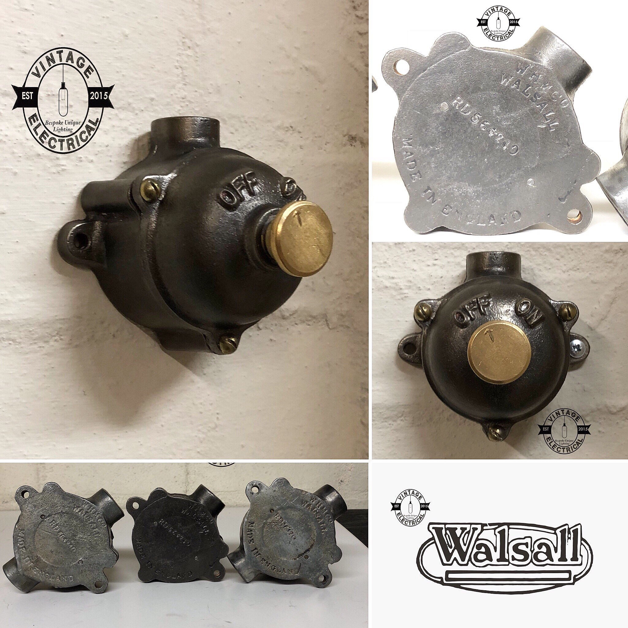 The walsall 1940\'s industrial cast iron single gang light switch ...